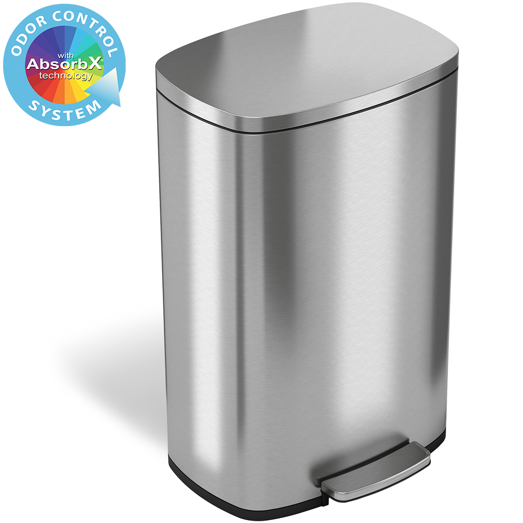 Itouchless Softstep 13 2 Gallon Stainless Steel Step Trash Can 50 Liter Pedal Kitchen Trash Can Walmart Com Walmart Com