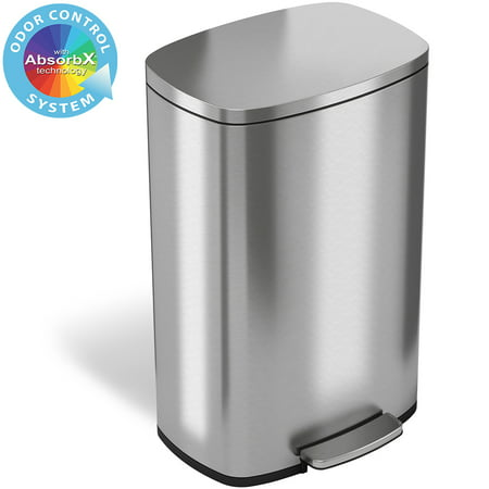 iTouchless SoftStep 13.2 Gallon Stainless Steel Step Trash Can, 50 Liter, Pedal Kitchen Trash Can