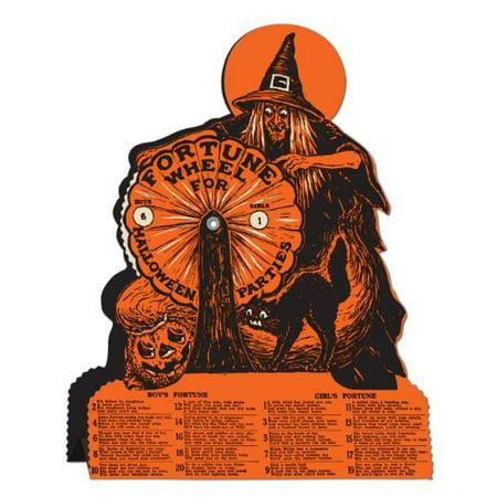 Retro Vintage Halloween Witch Fortune Wheel Game - 1 per - Halloween Mixer Games