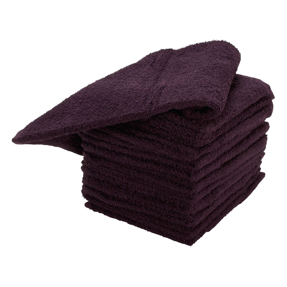 "Ultimate 16"" x 29"" Cotton Salon Chemical Bleach Resistant Hair Towels, EGGPLANT, 87436"