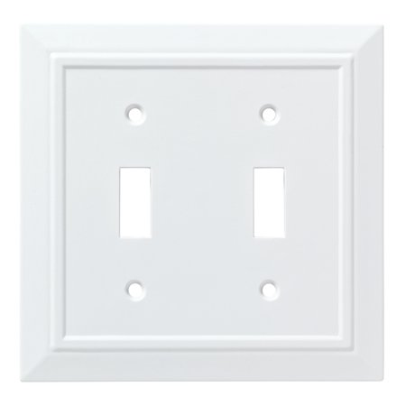 Franklin Brass Classic Architecture Double Switch Wall Plate in Pure White Double Switch Combo Solid Brass