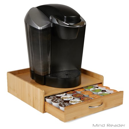 Mind Reader Bamboo 36 Capacity K-Cup Single Serve Coffee Pod Storage Drawer with Lip Panel, Brown