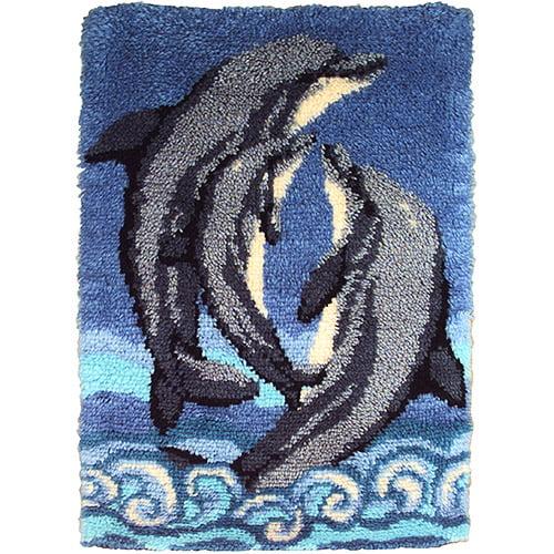 Caron Wonderart Latch Hook Kit, Dolphins