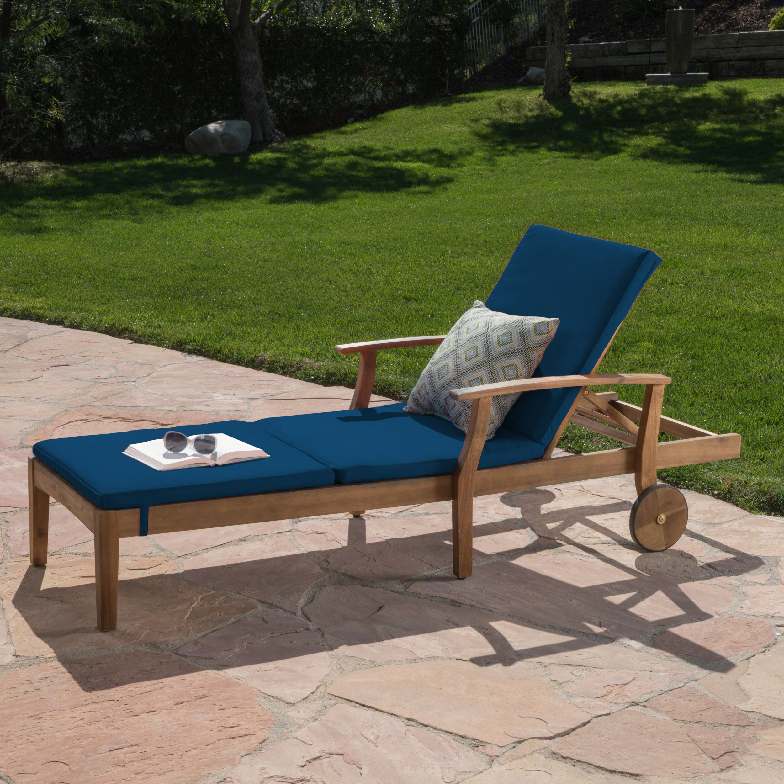 Daisy Outdoor Chaise Lounge with Water Resistant Cushion, Teak Finish and Blue