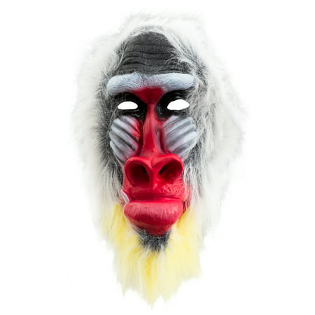 Halloween Baboon Animal Costume Full Head Mask, White Red Black, One Size