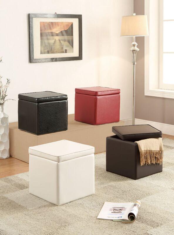 1PerfectChoice Organizer Kids Cube Storage Ottoman Footstools Poufs PU Leather 4 Colors Option Color Black by 1PerfectChoice