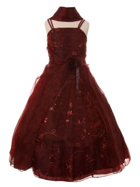 350f5f89b75 Product Image Cinderella Couture Little Girls Burgundy Flower Sequin Scarf  Pageant Dress 2-6