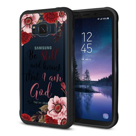 FINCIBO Slim TPU Bumper + Clear Hard Back Cover for Samsung Galaxy S8 Active, Christian Quotes Psalm