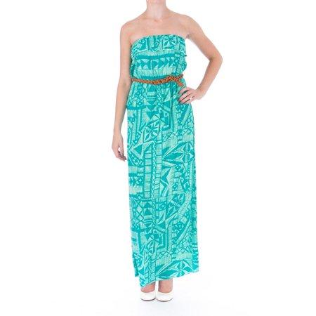 7897ef9cf6b Trixxi - Trixxi Womens Juniors Printed Strapless Maxi Dress - Walmart.com