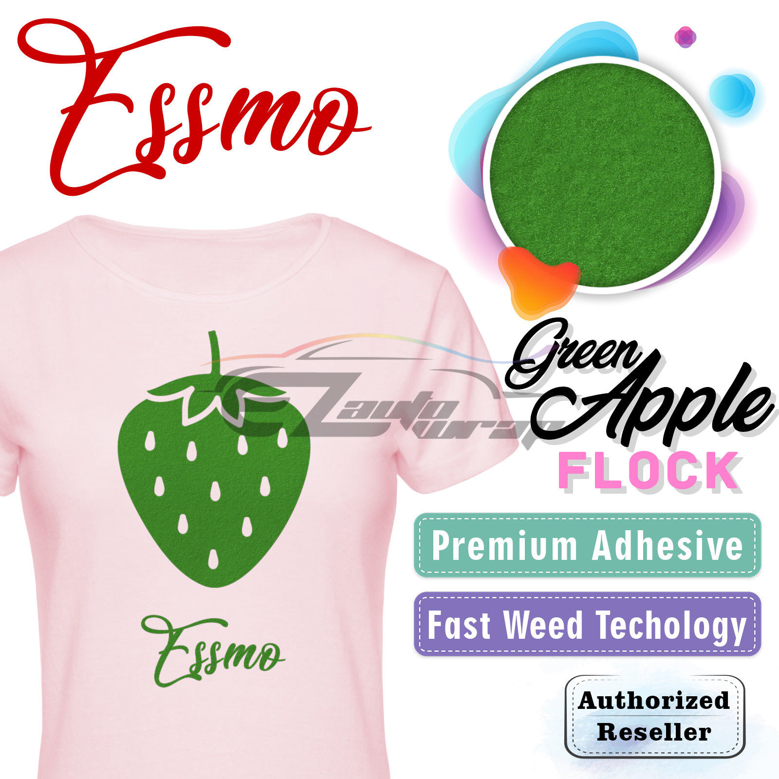 "ESSMO Green Apple Flock Heat Transfer Vinyl HTV Sheet T-Shirt 20"" Wide Iron On Heat Press 20""x12"""