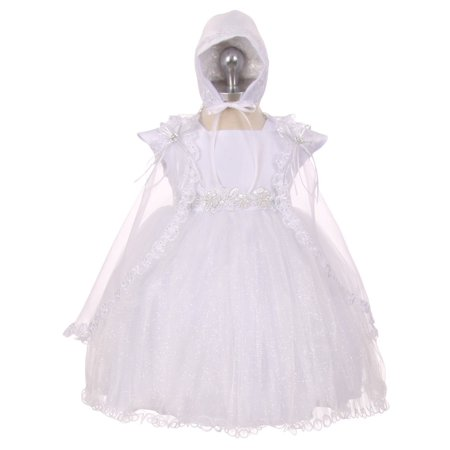 RainKids Baby Girls White Sparkly Tulle Cape Bonnet Christening Dress 0-24M - White Toddler Dress