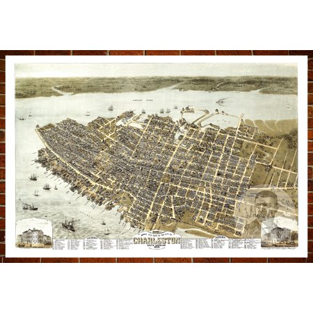Ted's Vintage Art Map of Charleston, SC 1872; Old South Carolina Decor 18