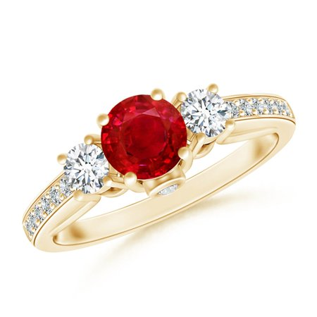 July Birthstone Ring - Classic Prong Set Ruby and Diamond Three Stone Ring in 14K Yellow Gold (5mm Ruby) - SR0227R-YG-AAA-5-7