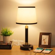 Boncoo Bedside Touch Lamp 3 Way Dimmable with 2 USB Ports Nightstand Table Lamp Minimalist Desk Lamp Simple USB Lamps Fabric Shade Metal Base for Bedroom Office Guestroom, 6W 2700K LED Bulb Included