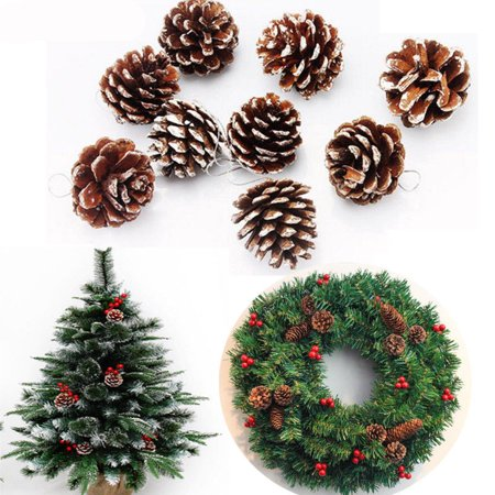 9pcs mini christmas pine cones baubles santa xmas tree party decor ornament - Walmart Small Christmas Tree