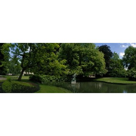 Trees in a park Queen Astrid Park Bruges West Flanders Belgium Canvas Art - Panoramic Images (30 x 12)