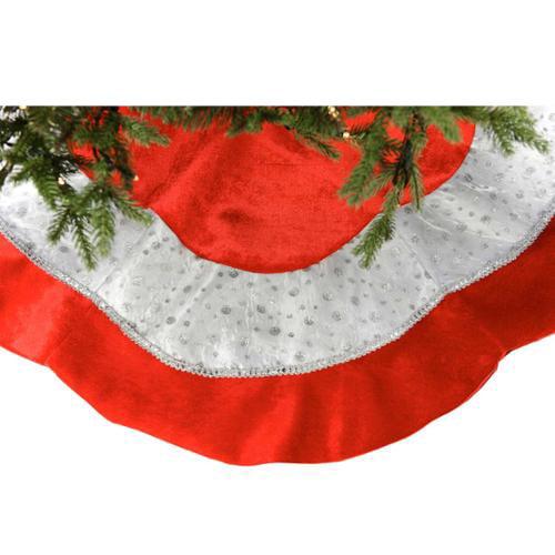 """Christmas Ltd 48"""" Red Velvet Tree Skirt With Metallic White & Red Trim"""