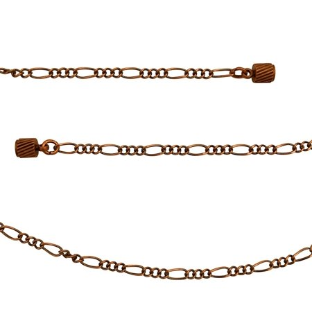 Antique Copper 2.3mm Figaro Chain Necklace with Magnetic Clasp and Extra Durable Color Protect Finish - 18 inches