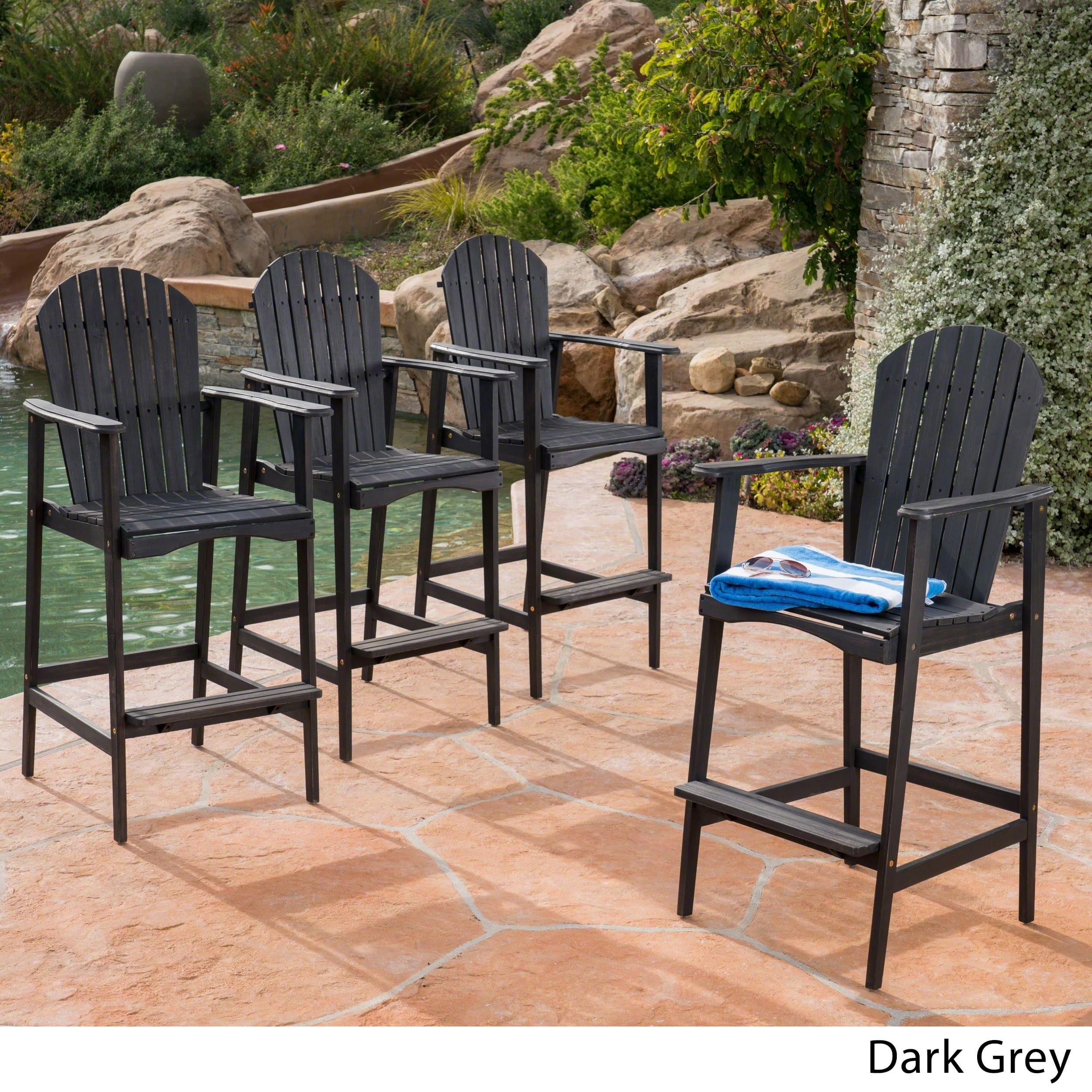 Christopher Knight Home Malibu Outdoor Wood Acacia Barstool (Set of 4) by