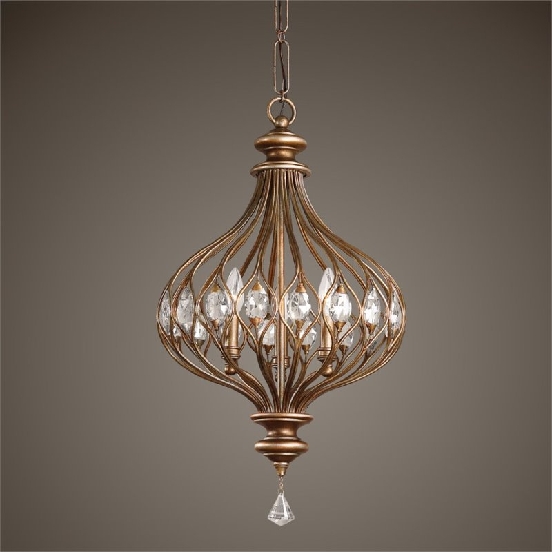 Uttermost Sabina 3 Light Pendant In Gold