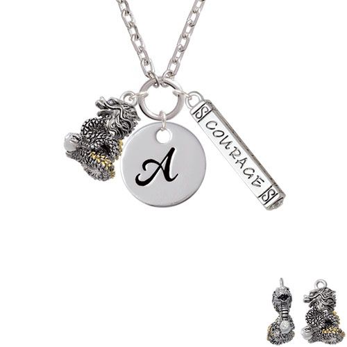 Dragon with Gold Tone Scales and Crystals - A - Script Initial Disc Courage Strength Wisdom Zoe Necklace