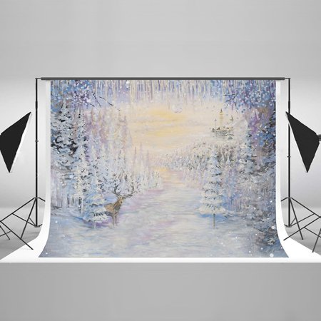 Christmas Scene Backdrop (HelloDecor Polyster 7x5ft Aesthetic Winter Photography Background for Photographers Christmas White Snow Scene Backdrop Xmas Tree Elk Photo Background High End Studio)