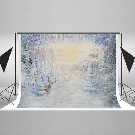 HelloDecor Polyster 7x5ft Aesthetic Winter Photography Background for Photographers Christmas White Snow Scene Backdrop Xmas Tree Elk Photo Background High End Studio - Snow Scene Backdrop