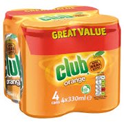 Club Orange soda 11.2 oz cans 4 pack Imported from Ireland