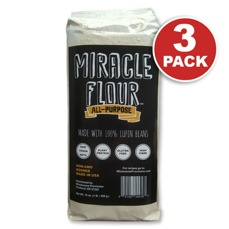 - 100% Lupin Flour, Non-GMO, Made in USA, All Purpose, Gluten Free, Vegan, Plant Protein, Low Carb Flour, Keto-Friendly, High Protein, Miracle Flour (3 Pack)