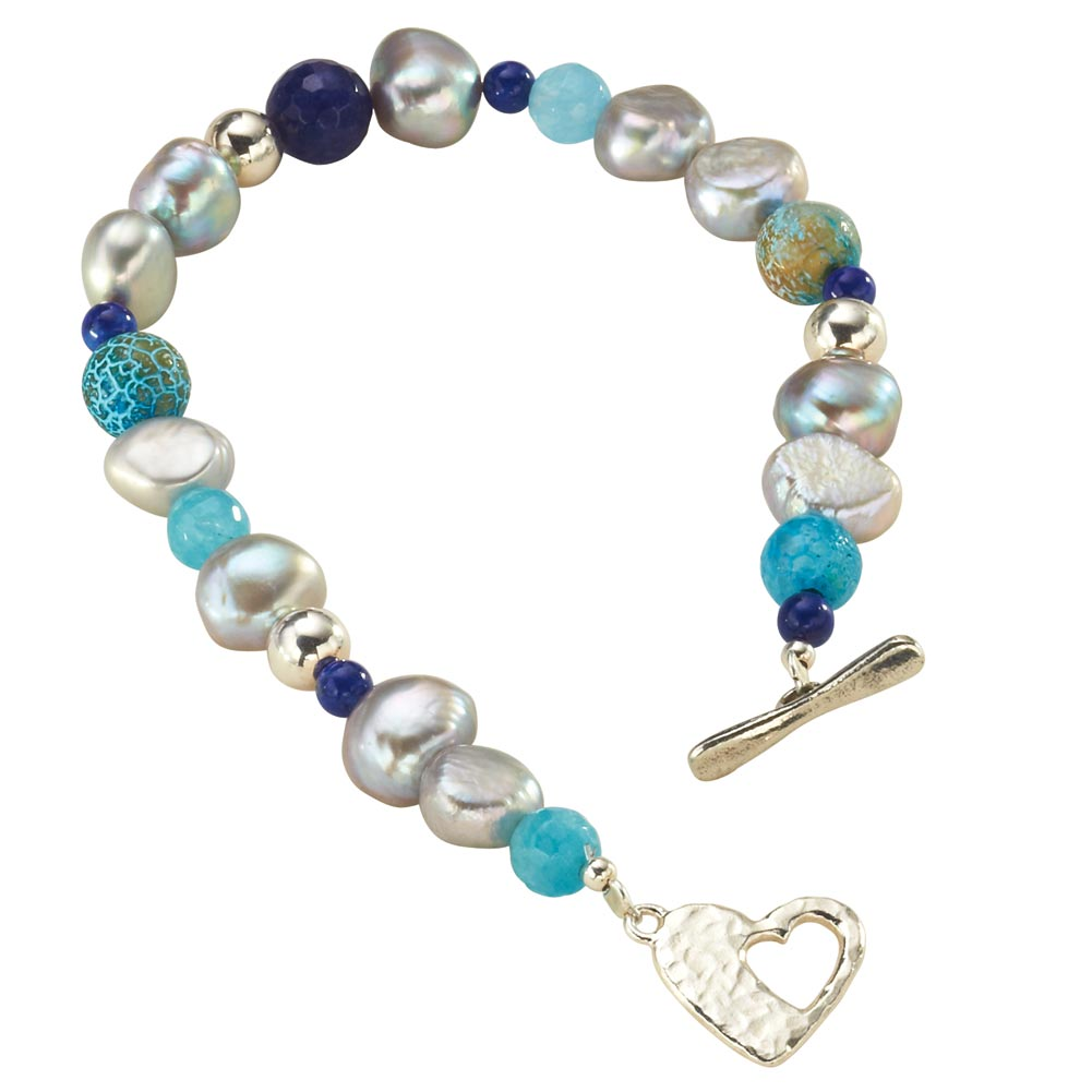 Women's Blue Lagoon Beaded Pearl Sterling Silver Bracelet