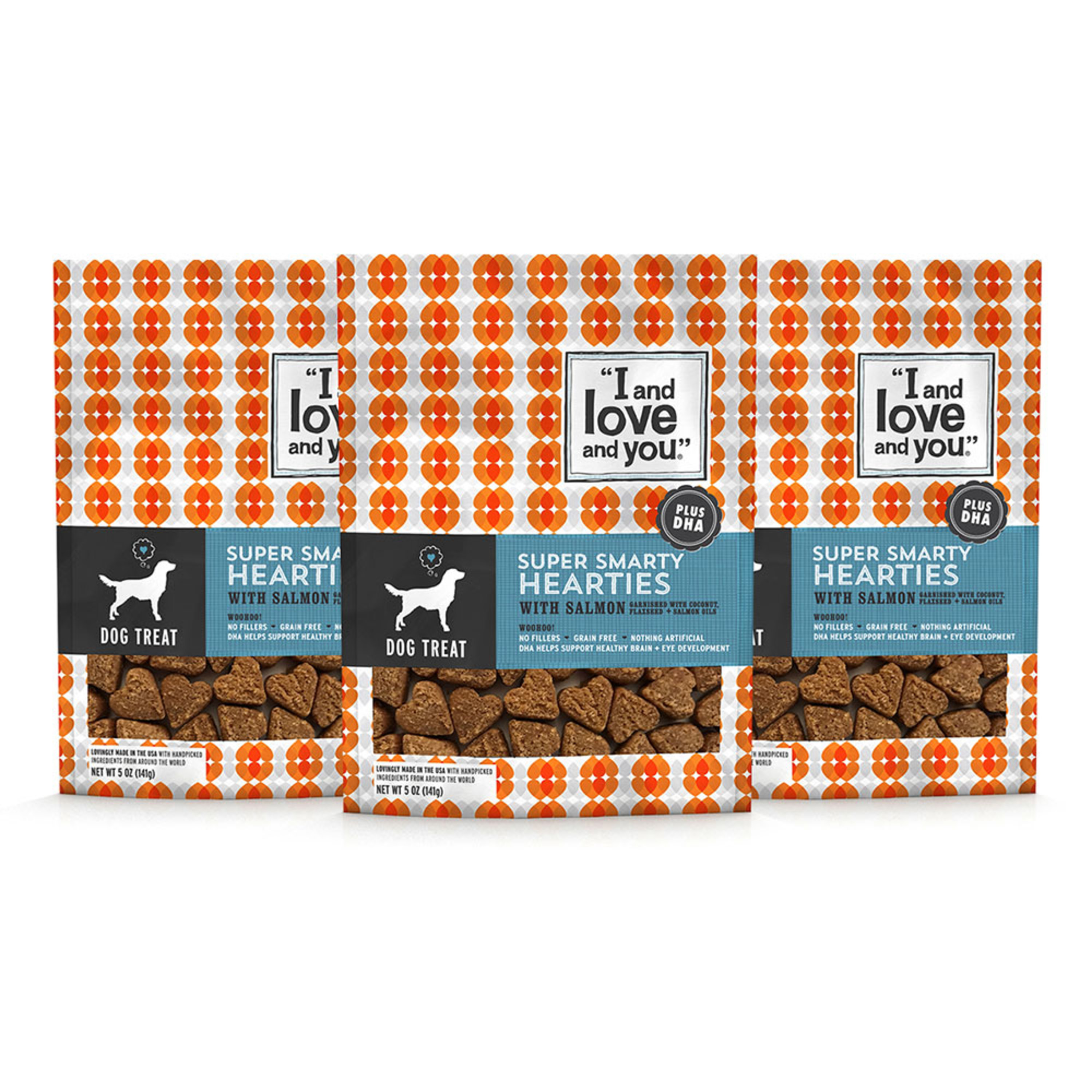 """""""I and love and you."""" Super Smarty Hearties Dog Treats, Plus DHA Salmon, 5 Oz (3 Pack)"""