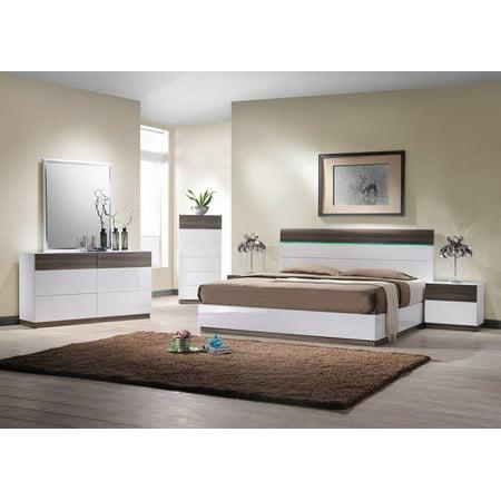 J&M Sanremo B Modern Walnut Veneer & White Lacquer Queen Bedroom Set 3Pcs