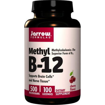 Jarrow Formulas Methyl B-12 500 mcg, Supports Brain Cells and Nerve Tissue, 100 Lozenges