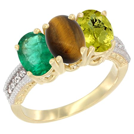 14K Yellow Gold Natural Emerald, Tiger Eye & Lemon Quartz Ring 3-Stone 7x5 mm Oval Diamond Accent, sizes 5 - 10 7x5 Emerald Shape Ring