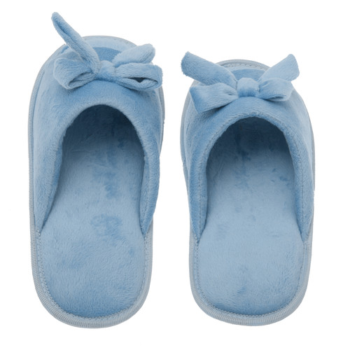 Living Health Products W1-10-Blue-9-10 Womens Memory Foam House Slippers - Open Toe coral fleece slipper with butterfly