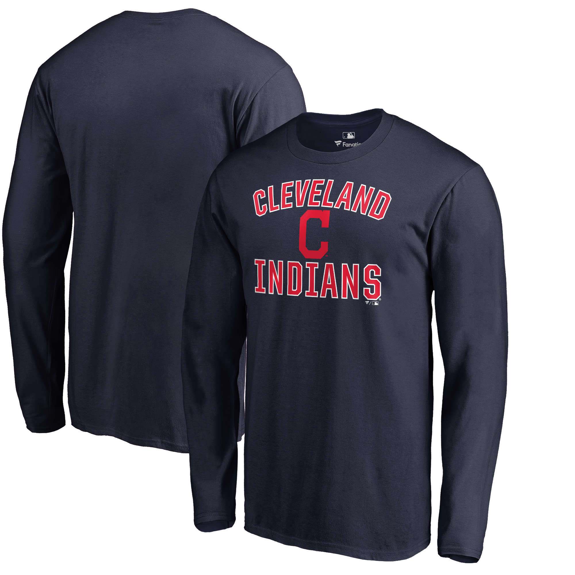 Cleveland Indians Victory Arch Big & Tall Long Sleeve T-Shirt - Navy