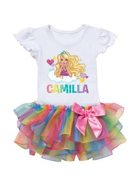 fd36ab121 Product Image Barbie Hearts Personalized Toddler Girl Rainbow Tutu Tee -  2T, 3T, 4T, 5