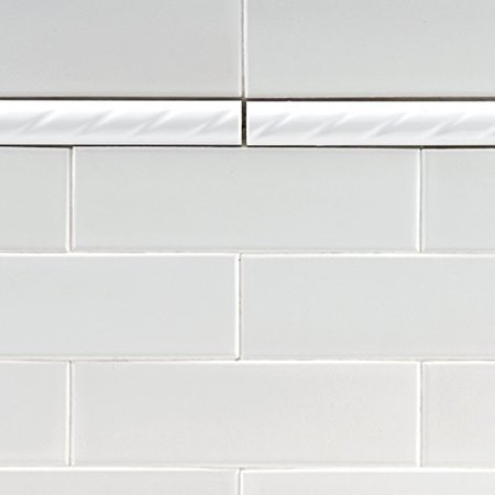 Somertile Wsp8wrp Cuerde Ceramic Pencil Wall Trim Tile 1 Inch X 8 White