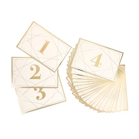 David Tutera Modern Geometric Table Number Cards with Gold Foil, 25 Piece, 25 geometric gold table Number cards per package By Darice