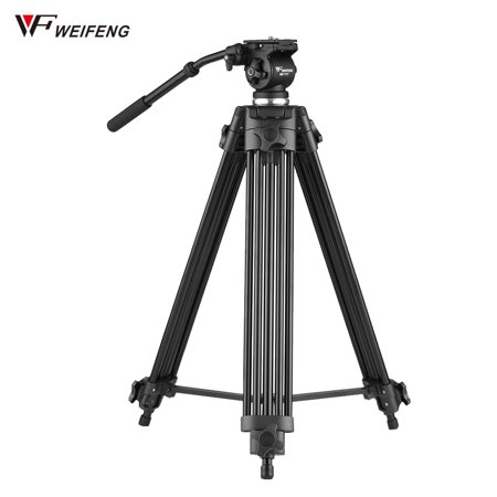 Weifeng WF-717 1.8m Professional Aluminum Alloy Camera Camcorder Video Tripod with Fluid Hydraulic Head for Canon Nikon Sony Max. Working Height 1890mm Max. Load Capacity -