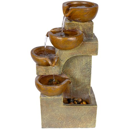 Alpine Corporation Outdoor 4-Tier Pouring Pots Fountain, Brown