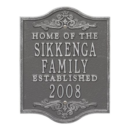 Personalized Buena Vista Anniversary Wedding Plaque in Pewter Silver (Wedding Address Plaques)