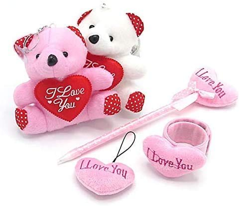 /& Slap Bracelet Valentines Gifts I Love You Plush Heart Set Pink Prizes for Girls Pen Includes Teddy Bear Keychain Heart Keychain