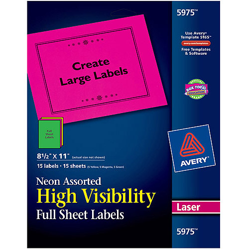 "Avery 15pk High-Visibility Laser Labels 5975, Assorted Neon Colors, 8-1/2"" x 11"""