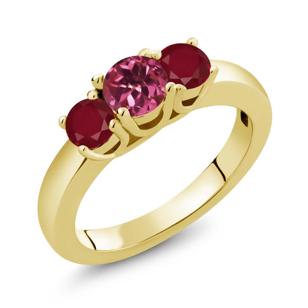 1.10 Ct Round Pink Tourmaline Red Ruby 14K Yellow Gold Ring by