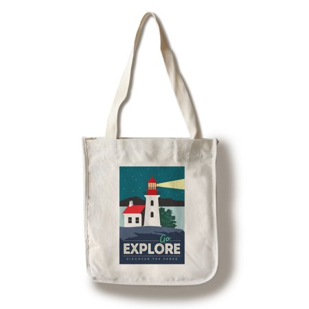 Go Explore (Lighthouse) - Discover the Parks - Vector Style (100% Cotton Tote Bag - Reusable)
