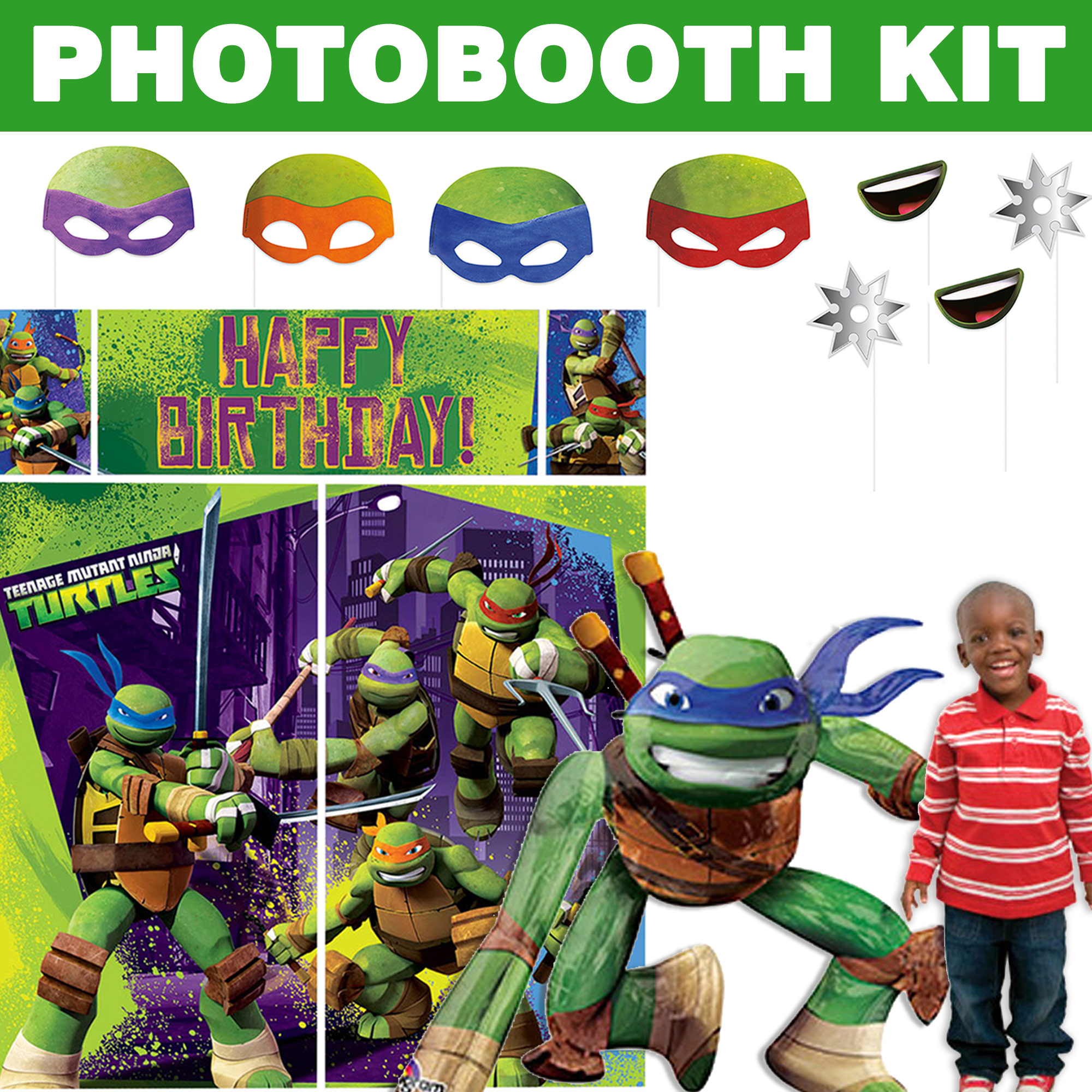 TMNT Deluxe Photo Booth Kit - Party Supplies