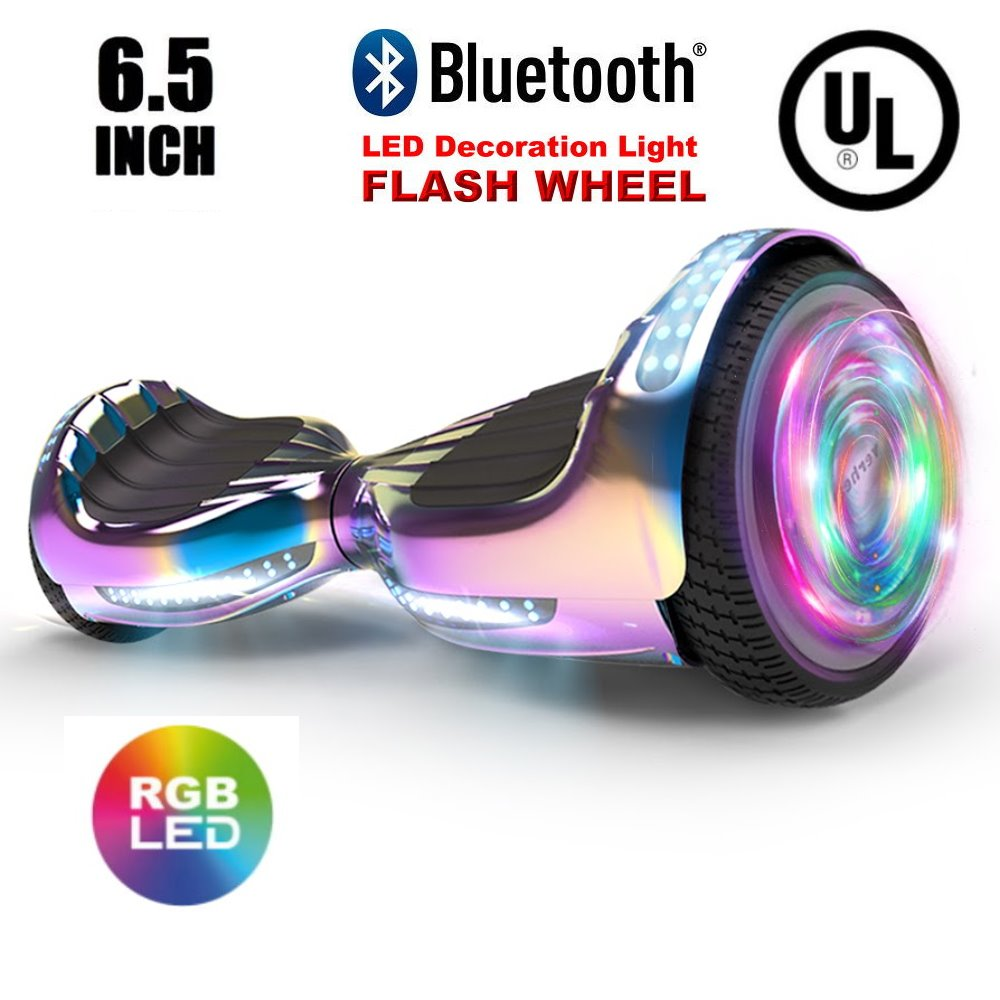 "UL 2272 Certified Hoverboard 6.5"" Bluetooth Speaker with LED Flash Wheel Self Balancing Wheel Electric Scooter - Chrome Turquoise"