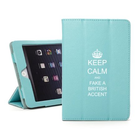 For Apple iPad Mini 4 Light Blue Leather Magnetic Smart Case Cover Keep Calm and Fake A British (Fluke Tablets)
