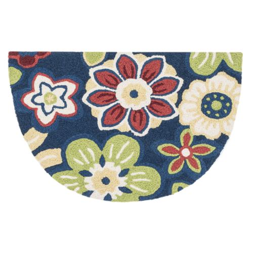 Hand-hooked Marcy Navy  Multi Blossom Hearth Rug (1'9 x 2'9) by Overstock